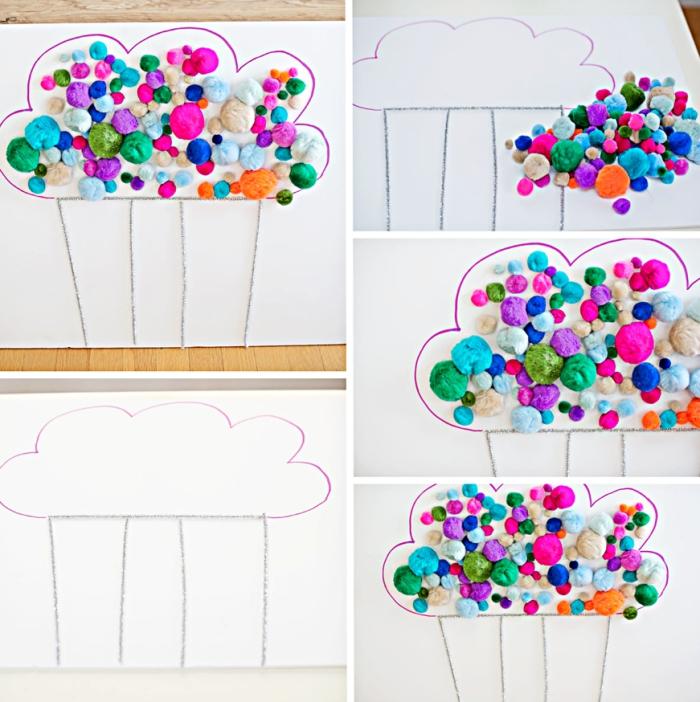 idée comment aménager la chambre enfant avec une décoration murale en dessin nuage avec pompons colorés