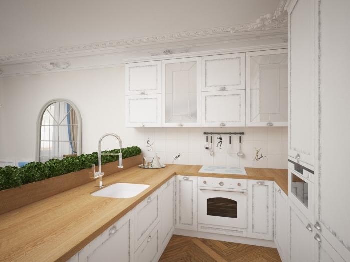 déco de style traditionnel et moderne avec meubles cuisine à design vintage blanc et comptoir de bois clair