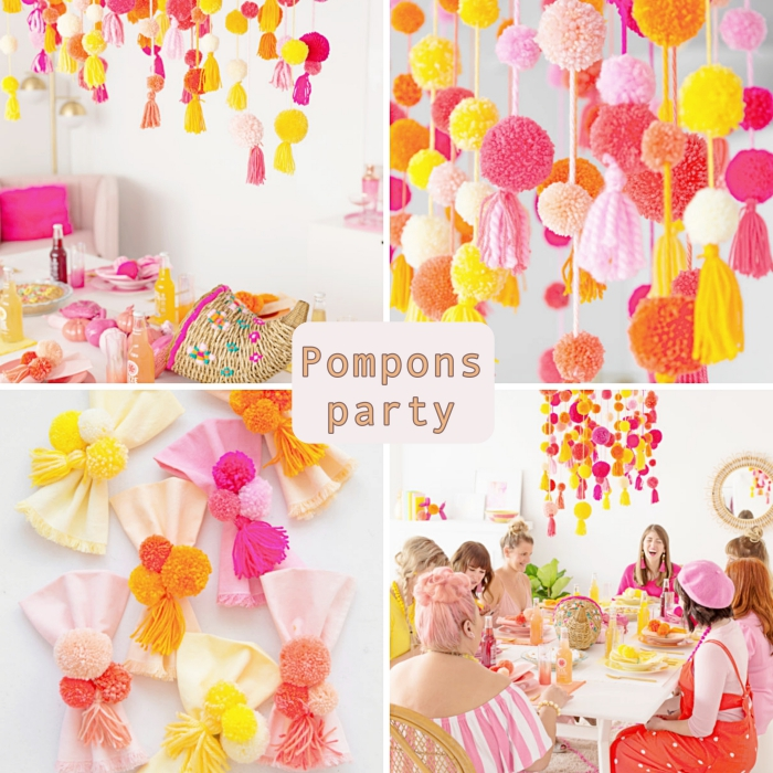 idée comment décorer sa maison pour une fête entre femmes, déco festive en orange et rouge avec pompons en laine