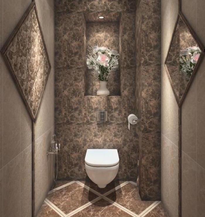 déco de wc style baroque marron et beige style original vintage avec pot de fleurs