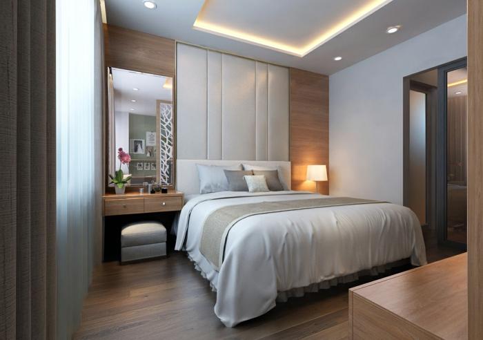 idée deco chambre parentale, disposition des meubles symétrique et selon les principes du feng shui