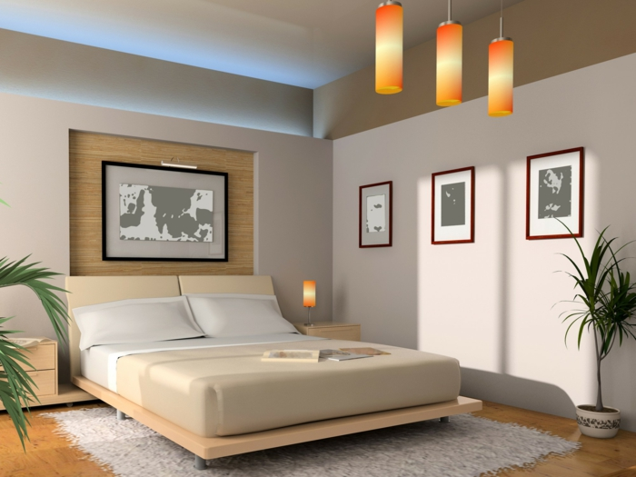 intérieur gris et blanc, trois lampes oranges cylindriques, lit plateforme, tapis moelleux gris