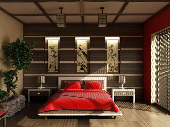 design et déco chambre parentale, lit rouge, déco murale style japonais, bonzai en pot de fleurs