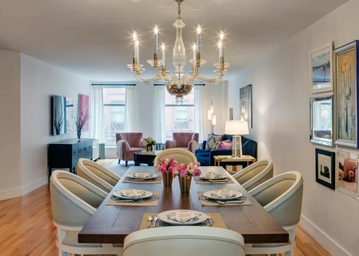 peinture salle à manger neutre et élégante, créer un salon salle à manger, peintures encadrées, sol boisé