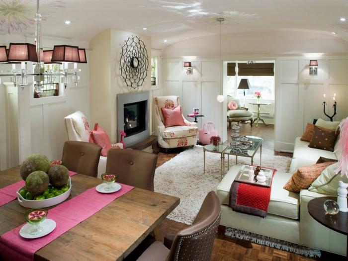 peinture tendance salon, salon et table à manger, intérieur cosy en couleurs claires, joli tapis blanc
