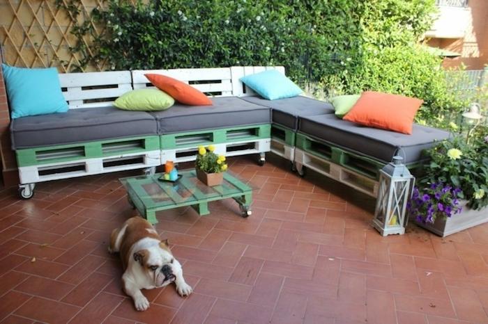 coussin salon de jardin palette gris sur un canapé d angle à roulettes en vert et blanc, table basse palette avec plateau en verre, chien mignon, mur végétalisé