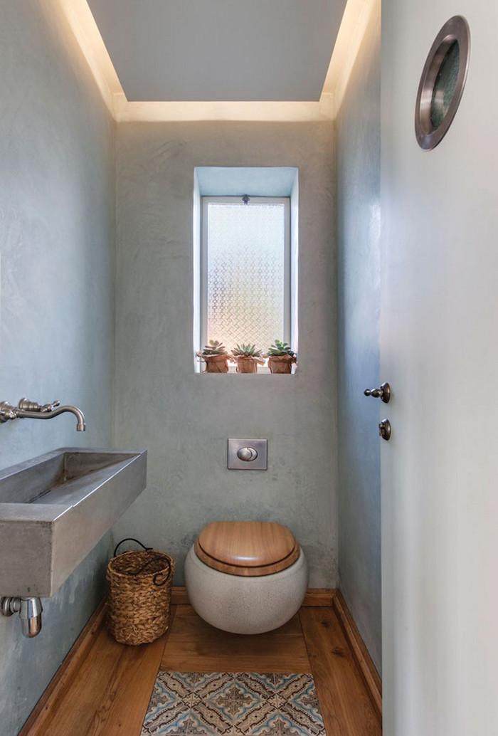 décoration toilettes avec murs gris wc suspendu rond et lavabo en métal style industriel original