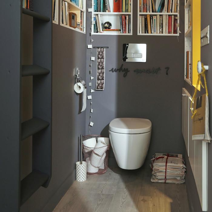 deco toilette gris anthracite avec bibliotheque encastré dans le mur