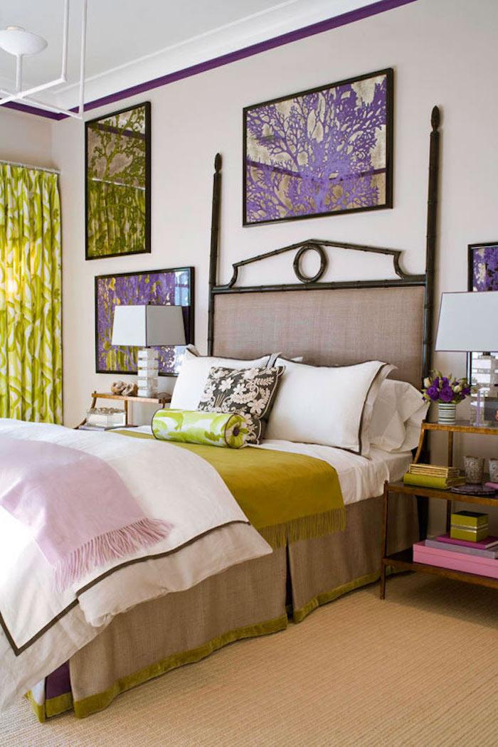 Chambre adulte complete pas cher cool idée décoration belle déco de chambre vert et violet quelle couleur associer avec le vert claire déco intérieur