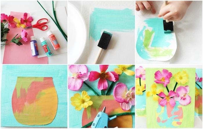 decoration murale de toile avec silhouette de vase en papier coloré et des fleurs fraiches collées sur des tiges en cure pipe, diy fete des meres