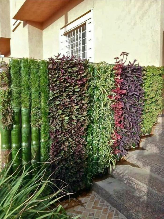 amenagement jardin paysager, plantes rampantes utilisées comme cintre qui délimite l'espace, escalier en style vintage, amenagement exterieur