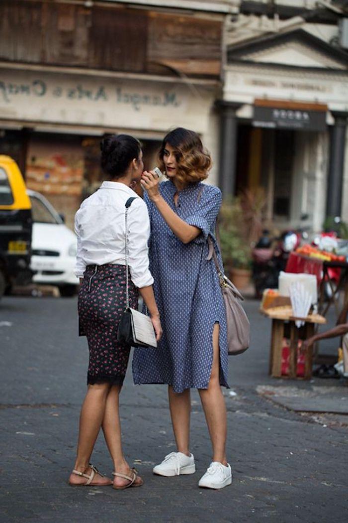 Basket femme habillé chaussures argentées femme ideee tenue amies basket blanche