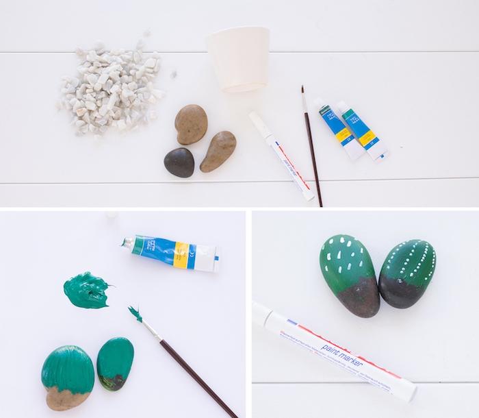 idée pour réaliser des galets décorés de peinture verte et blanche pour imiter des cactus, pot de fleur blanc avec des pierres décoratives