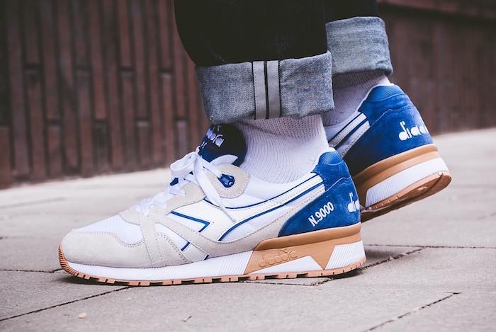 chaussures homme à la mode et sneakers diadora n9000 blanc bleu rétro