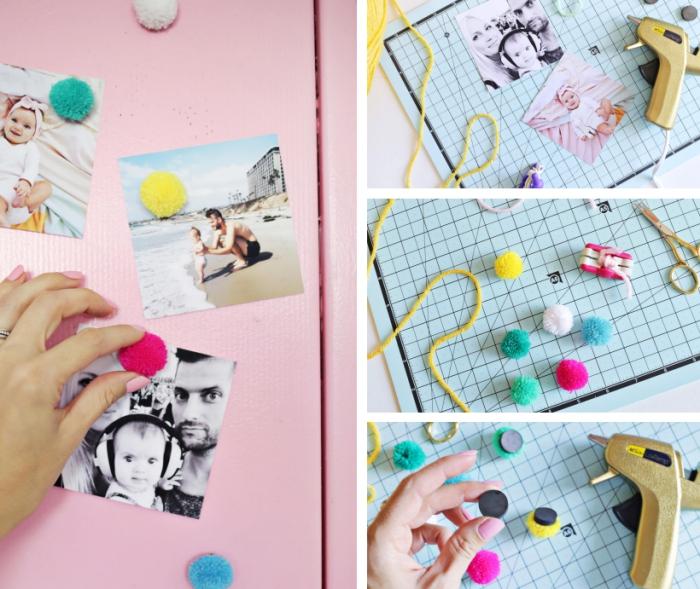 deco a faire soi meme facile et rapide avec mini pompons prêts de couleurs variées et aimants pour le frigo