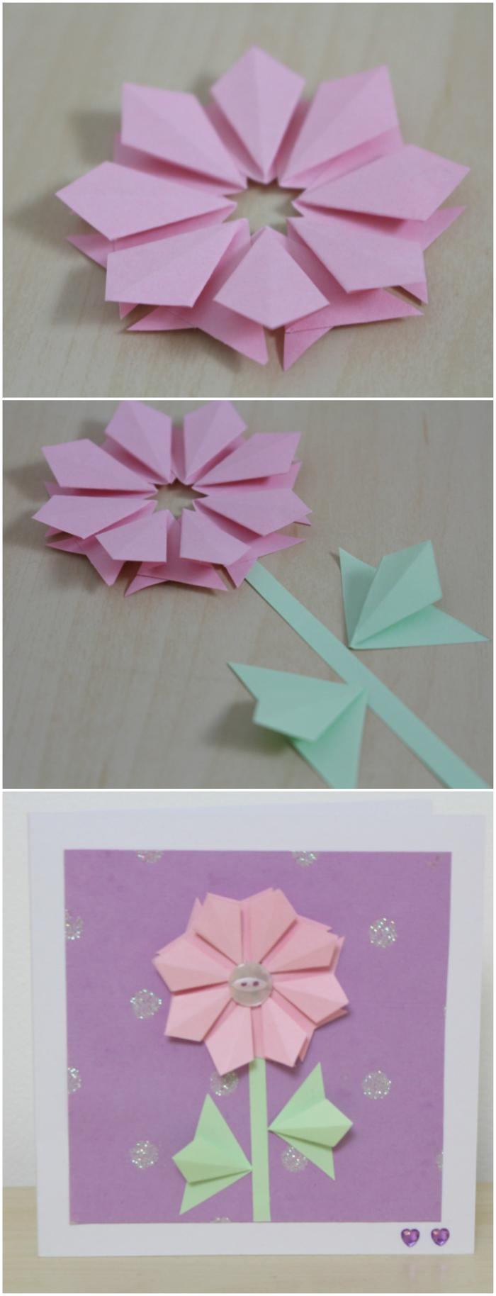 une carte de voeux personnalisée avec une fleur en origami, idée pour une carte de voeux personnalisée pour la fête des mères