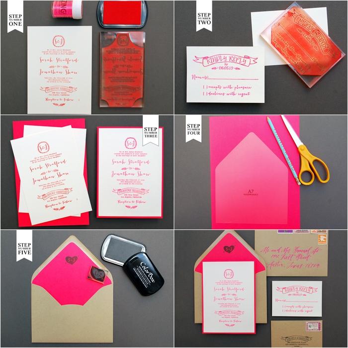 idée pour un faire part mariage personnalisé en blanc, néon et papier kraft facile à réaliser à l'aide de la technique