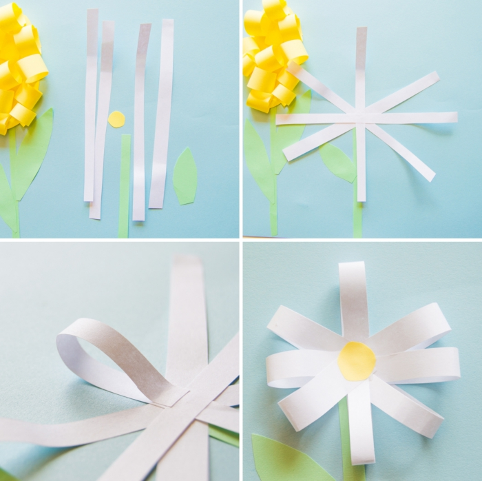 tutoriel comment réaliser une marguerite en papier, modele origami fleur facile à faire avec les enfants