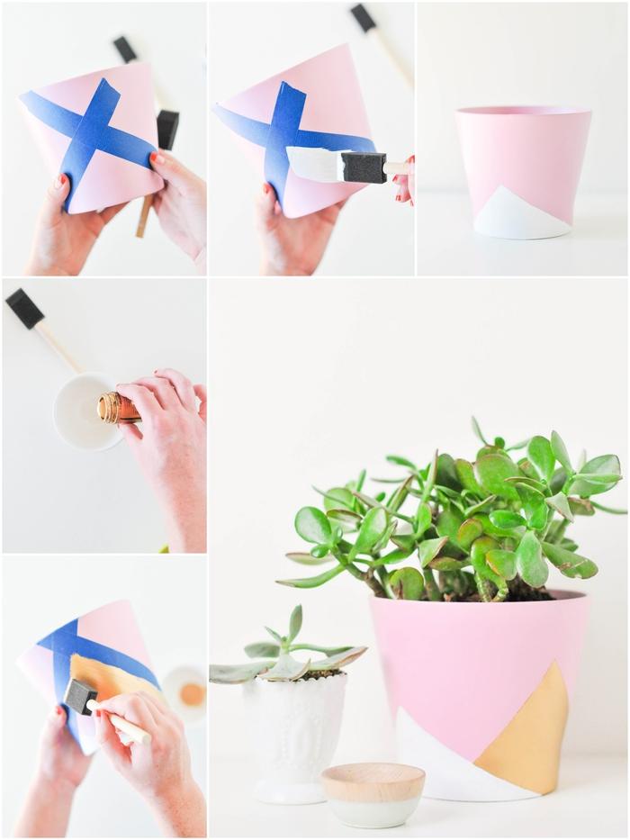 idée pour personnaliser un pot de fleur avec des motifs géométriques réalisés à l'aide d'un peu de peinture et des rubans de masquage, activité manuelle fete des meres pour faire un cadeau personnalisé