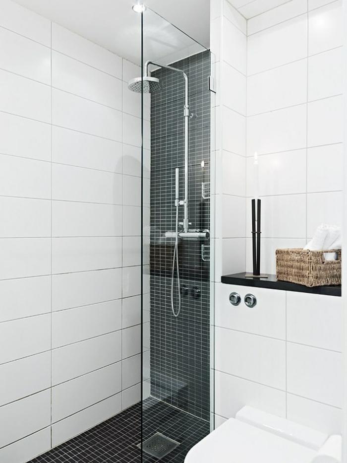 petite sdb blanche et grise anthracite avec douche italienne étroite semi fermée