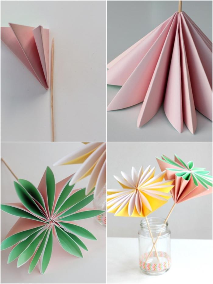 comment faire une fleur en papier pour composer un bouquet éternel original composés de dahlias, pâquerettes origami et des fleurs en papier de soie variées