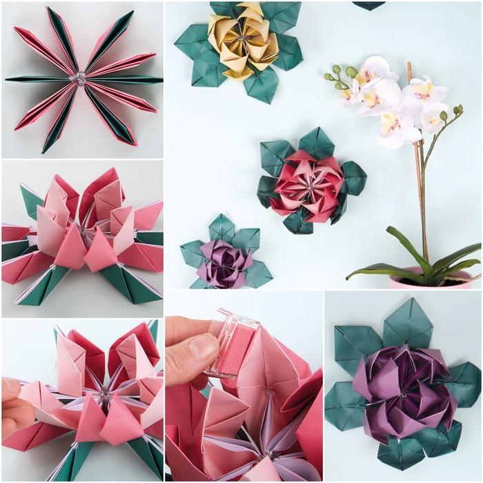 les étapes finales du pliage d'un modèle d'origami fleur de lotus