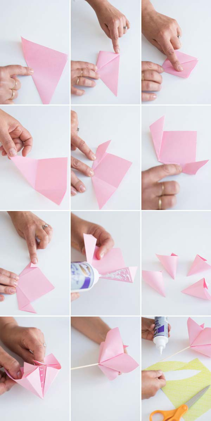 tuto de pliage papier facile pour réaliser soi-même une décoration de gâteau douce et aérienne en cake toppers origami