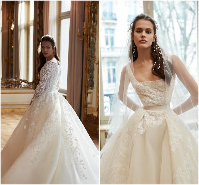 collection de printemps 2019 d elie saab, robe de mariée avec dentelle et jupe coupe princesse avec des éléments floraux