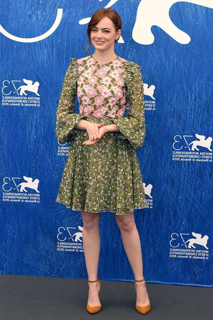 Chouette robe femme habillée robe de soirée rouge femme élégante robe Emma Stone robe courte manche longue