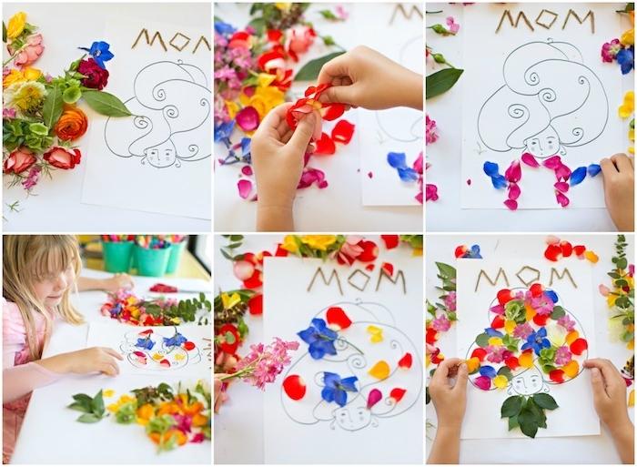 idée de carte fête des mères maternelle, un dessin silhouette femme avec des cheveux en pétales de fleurs naturelles,