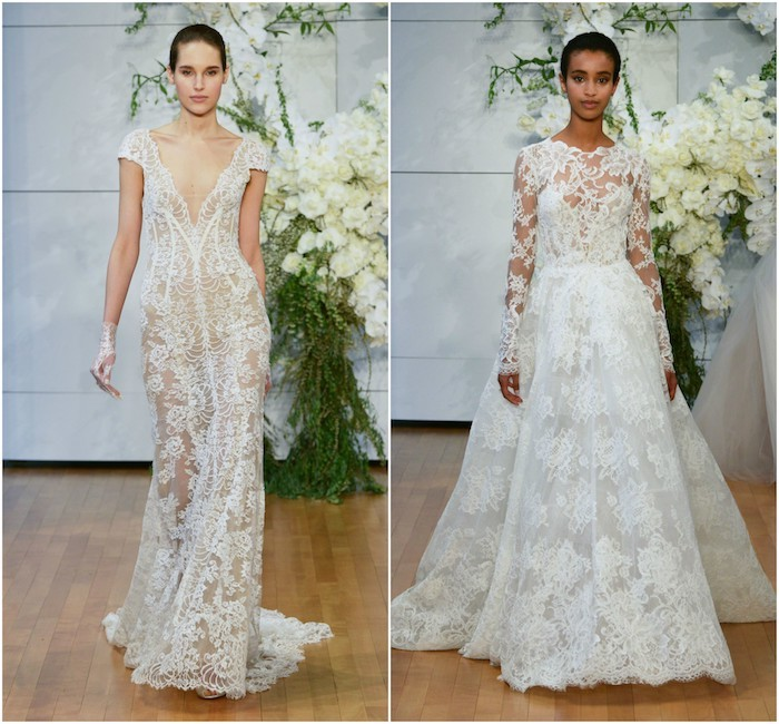 exemple mariée dentelle, une robe moulante transparente et une robe avec jupe évasée et top en dentelle transparente avec manches