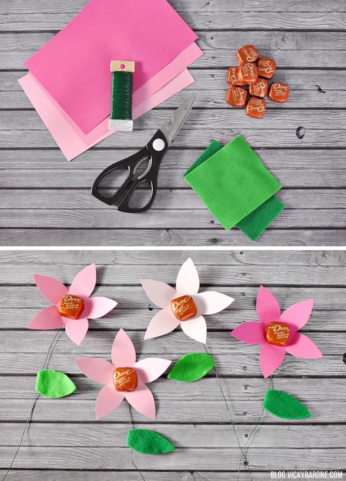 fleur en papier avec centre en bonbon et tige en fil de fer, cadeau original fete des meres gourmand
