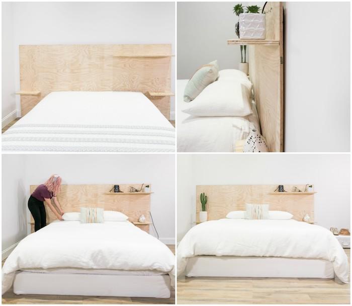 comment fabriquer une tete de lit en bois contreplaqué avec des étagères bois, linge de lit blanc, parquet clair, deco tete de lit accessoires et affaires personnelles