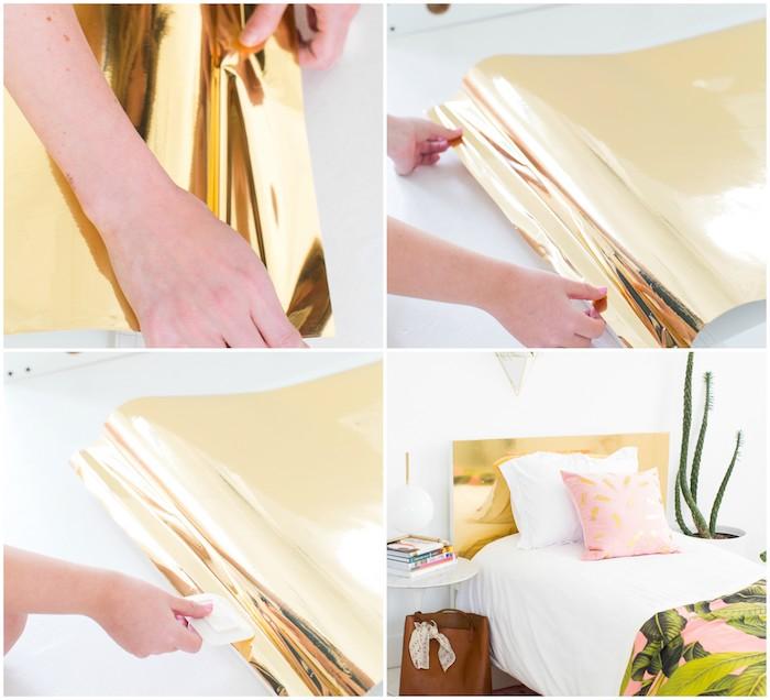 exemple deco tete de lit décorée d un adhésif décoratif or, linge de lit blanc et rose, couverture de lit motif exotique