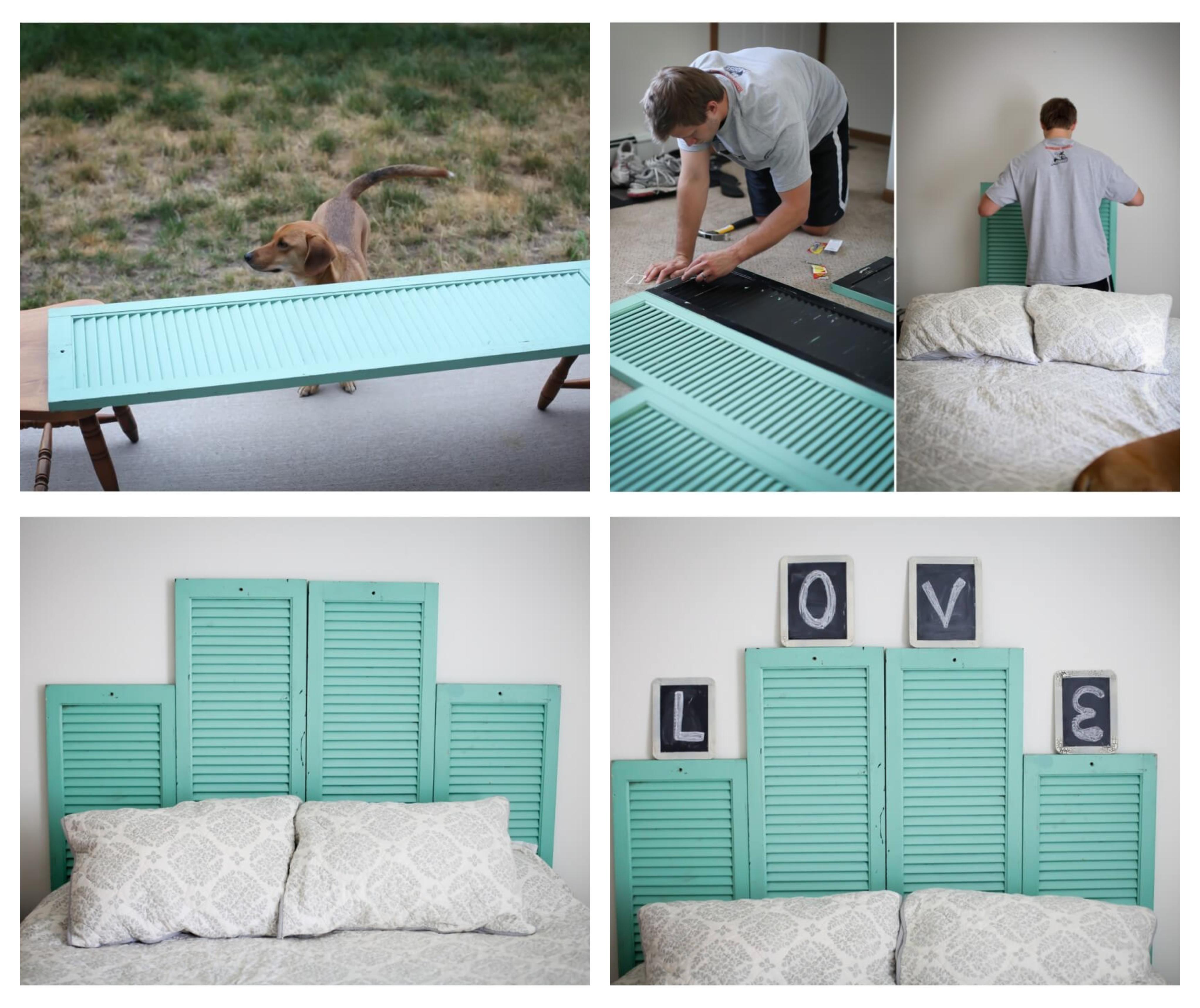 fabriquer une tete de lit en volets de bois repeints de peinture bleue derrière un lit avec linge de lit gris et blanc