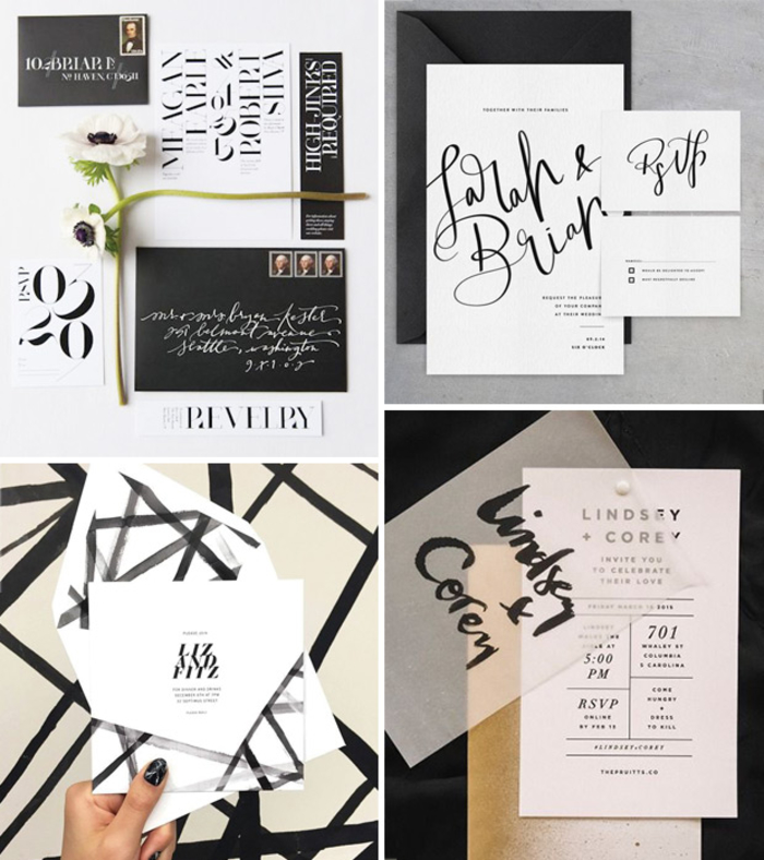 la carte invitation mariage monochrome affiche une belle typographie contemporaine