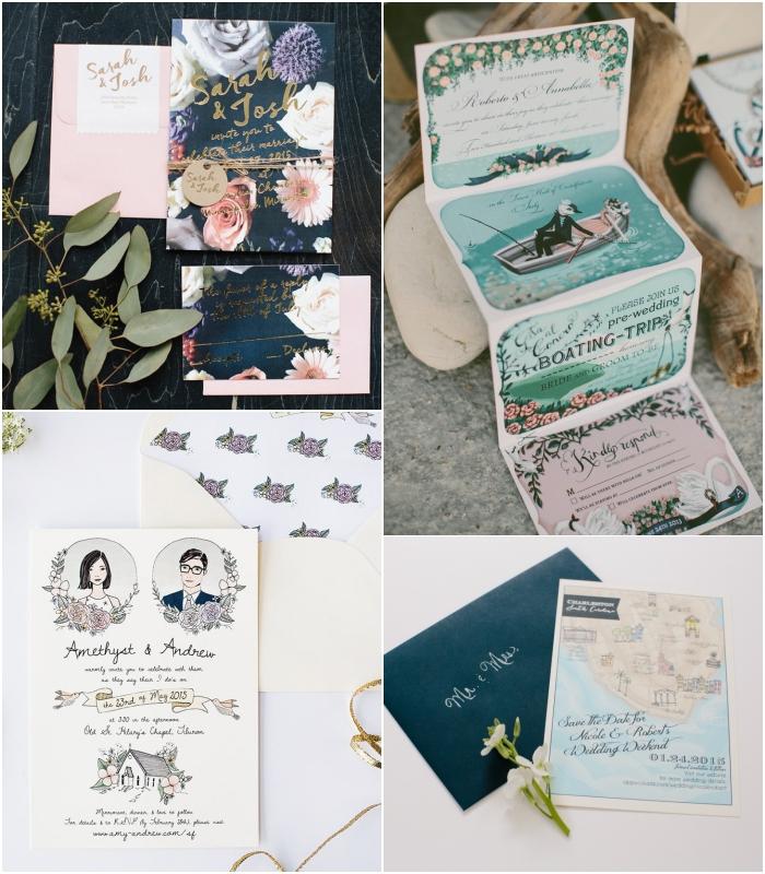 le faire part mariage boheme chic inspirera la joie aves ses illustrations originales et ses jolis motifs floraux