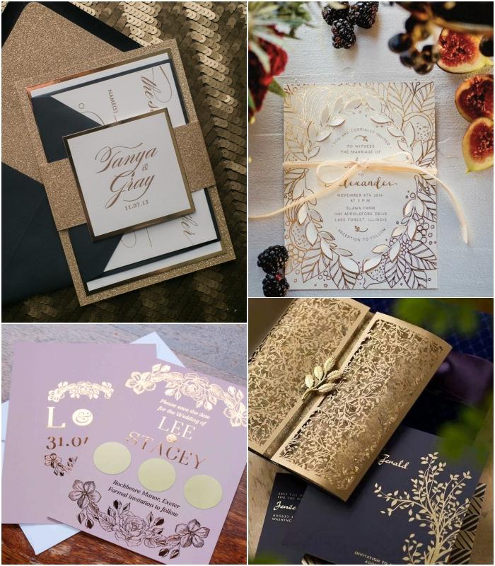 faire part élégant et glamour associant le papier texturé aux tons métalliques toujours très en vogue