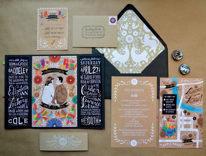 un faire part mariage original à deux volets qui contraste avec la partie centrale illustrée et haut en couleur