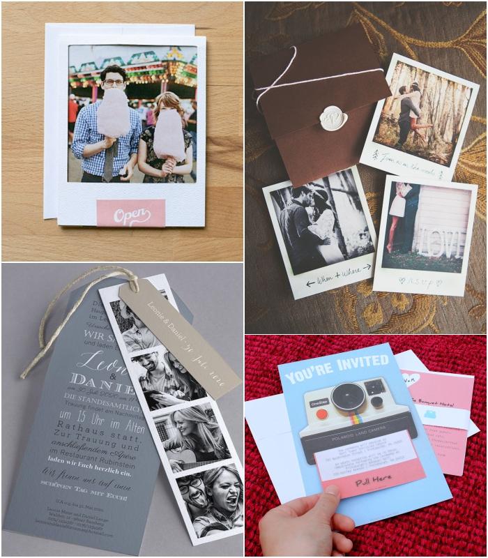 un faire part mariage personnalisé et unique avec votre photo de couple polaroid ou photomaton