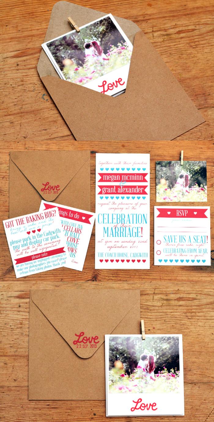idée originale pour un faire part de bapteme ou de mariage accompagné d'une photo instantanée polaroid et une enveloppe en papier kraft