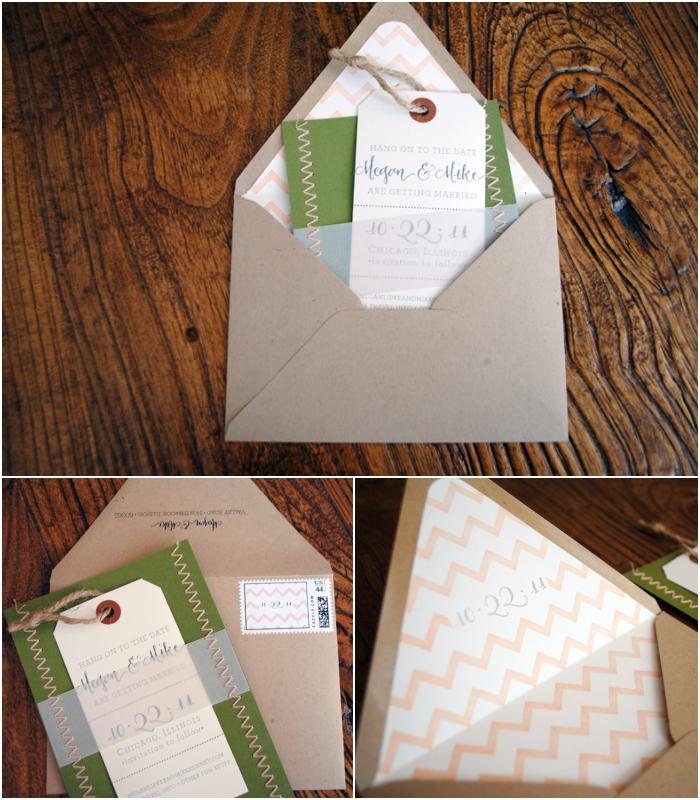 faire part vintage au format original imitant une étiquette accompagné d'une enveloppe à motif chevron