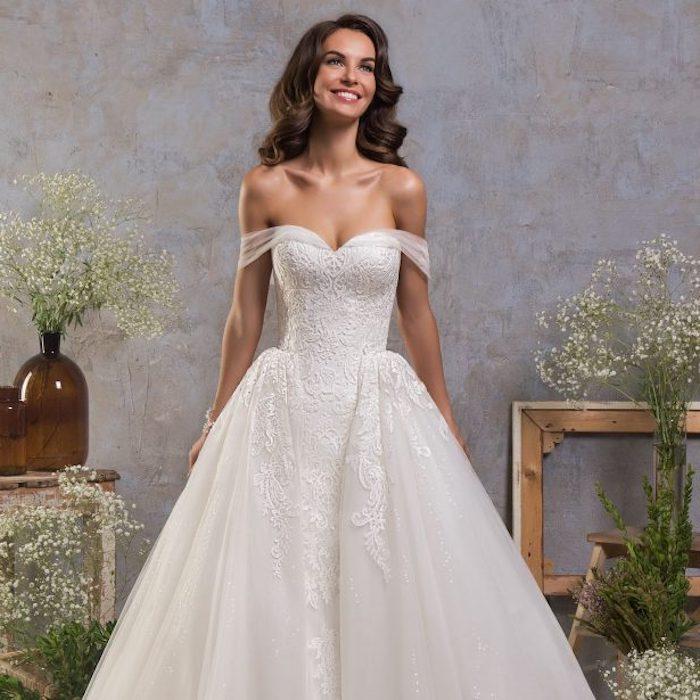 Robe de mariée 2018 robe dentelle mariage luxueuse robe de mariage magnifique épaules dénudées dentelle bustier top robe longue magnifique mariée princesse