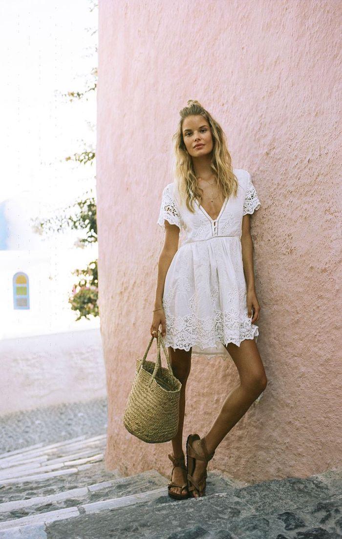 Robe fluide bohème robe blanche décontracté comment porter une robe de vacances adorable robe courte avec manche courte