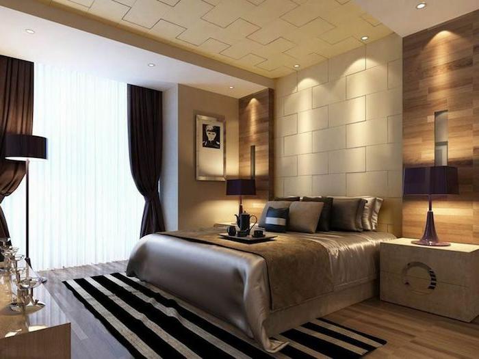 tapis rayures dans une chambre harmonieuse et apaisante en couleurs neutres et élégantes