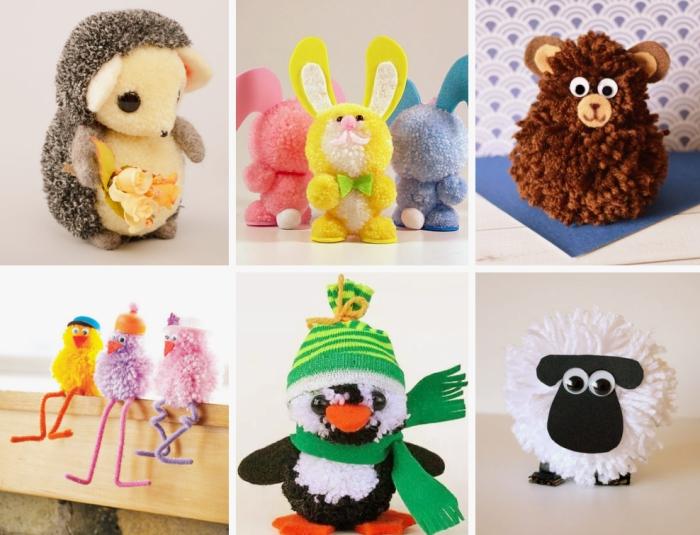 modèles de doudou enfant à design animal, activité manuelle maternelle à créer avec pelotes de laine et feutre