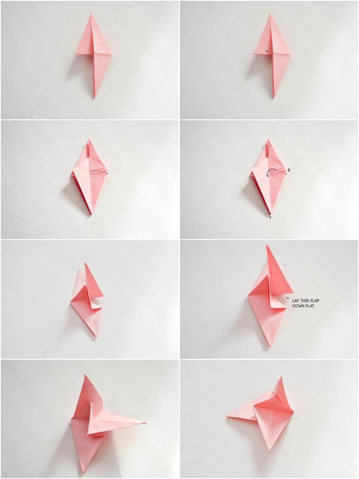 suivez le pas à pas pour réaliser une fleur en origami en forme de jolie rose aux plis harmonieux, idée déco en origami avec une guirlande fleurie en roses origami