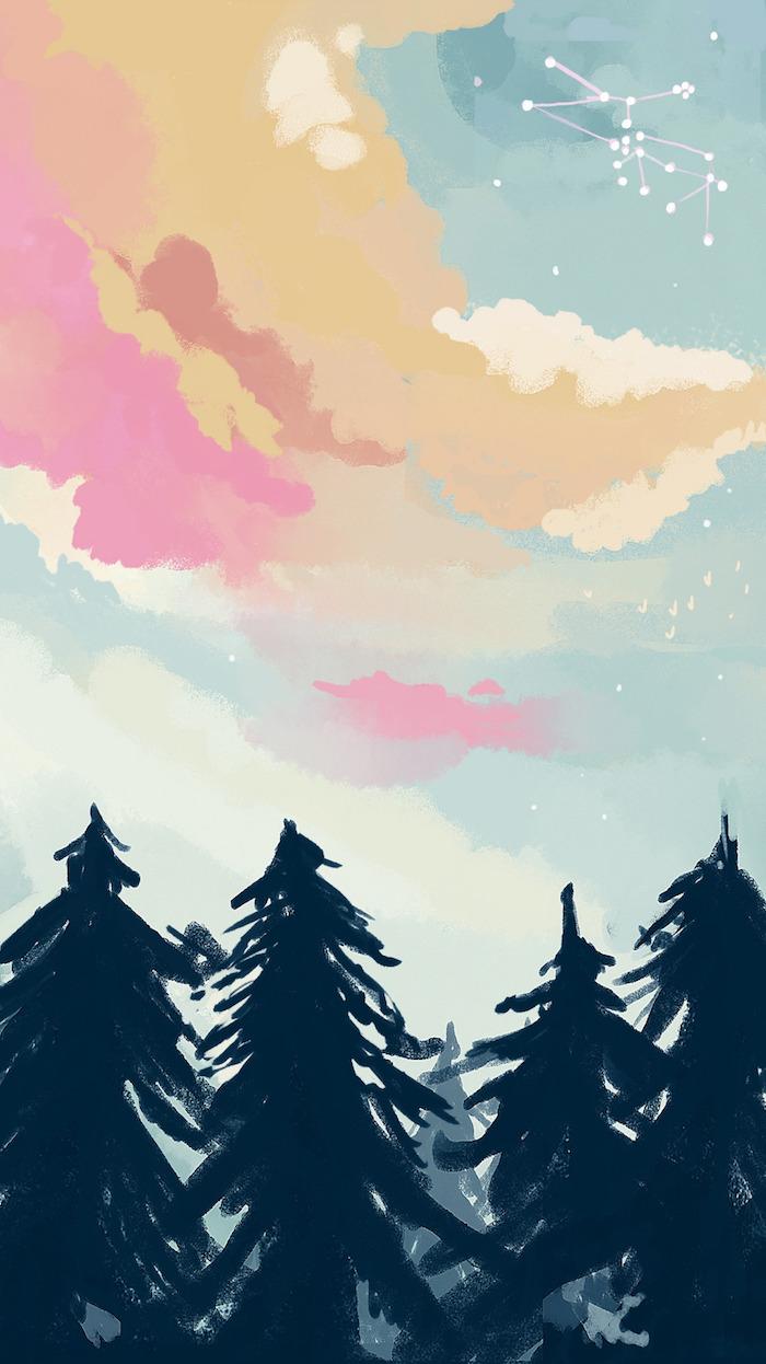 Fond d'écran girly fond d'écran verrouillage fond d'écran téléphone wallpaper fond d'écran arbres dessin coloré belle