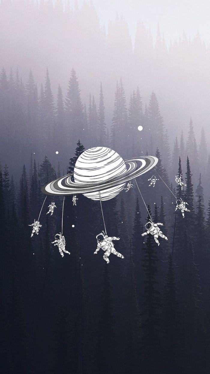 Fond d'écran téléphone fond d'écran verrouillage choisir une photo arriere plan planet et astronautes