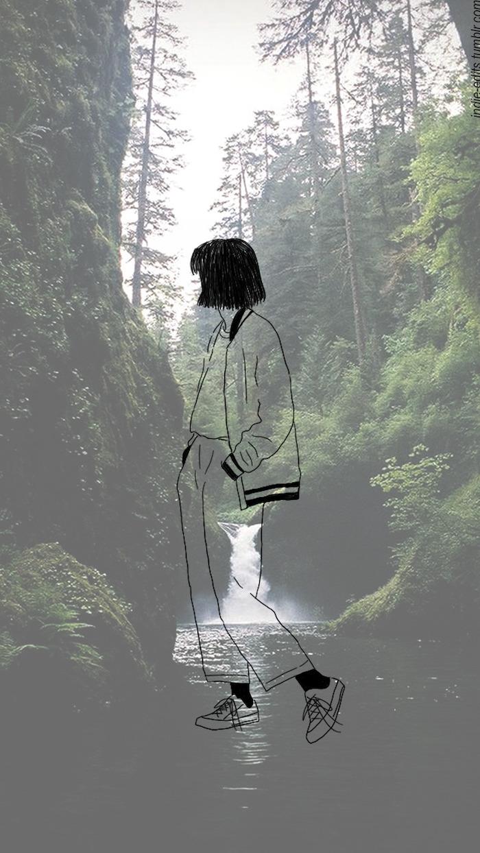 Fond d'écran attrape rêve fond d'écran verrouillage image drôle photo d inspiration dessin de fille au fond de foret et chute d eau